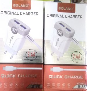 Bolano 5G 2.4A Mobile Charger |B-88 |LG3500 (MOQ:5P)